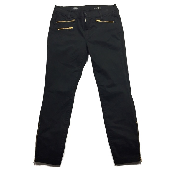 J. Crew Pants - J. Crew Black Sateen Toothpick Pants with Zips